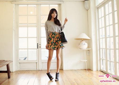 Chân váy hoa đẹp ngắn xếp ly
