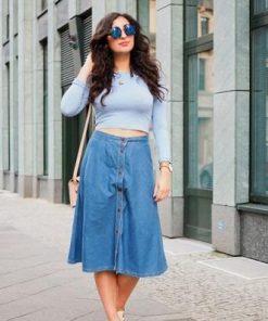 Mẫu chân váy jean dài đính khuyMẫu chân váy jean dài đính khuy