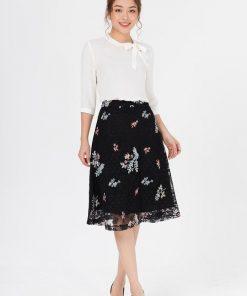 Chân váy ren thêu hoa đẹp nổi bật