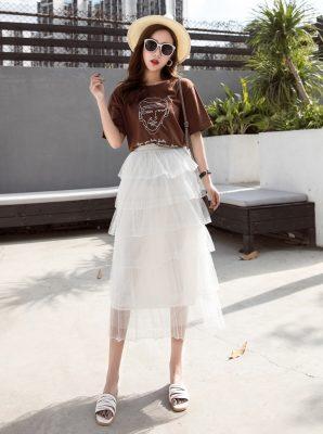 Chân váy ren nhiều tầng đẹp quyến rũ