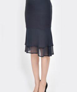chân váy đuôi cá phối voan màu đen