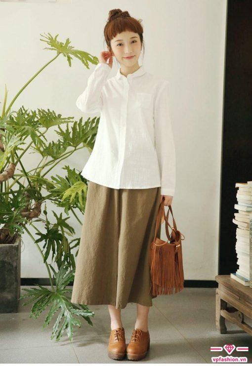 Chân váy suông dài phong cách Nhật