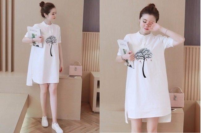 mẫu váy suông bầu họa tiết đơn giản