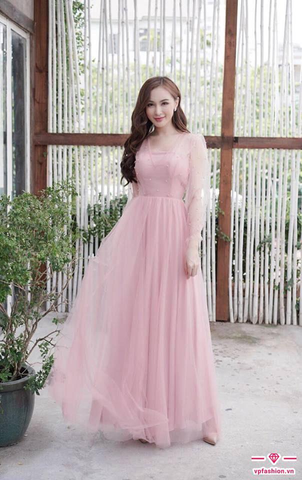 Đầm dạ hội maxi tay dài