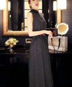 Đầm maxi cổ trụ họa tiết chấm bi nữ tính dịu dàng