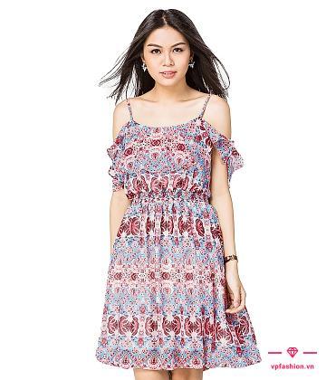 váy maxi ngắn hai dây trể vai