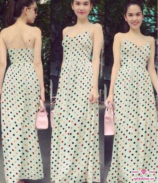 Váy maxi chấm bi hai dây dài