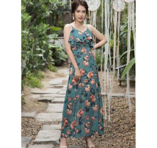 Váy maxi 2 dây hoa đẹp