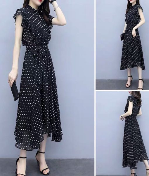 váy maxi chấm bi cổ trụ đẹp