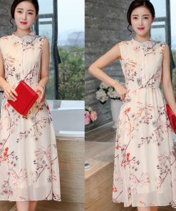 Váy maxi cổ trụ hoa đẹp