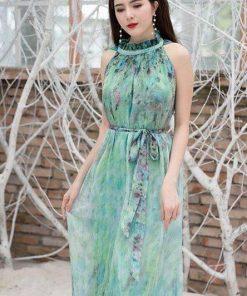 Váy maxi hoa cổ yếm