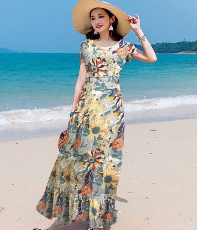 Váy maxi hoa bèo chân
