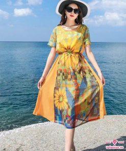 Váy maxi ngắn họa tiết hoa vàng