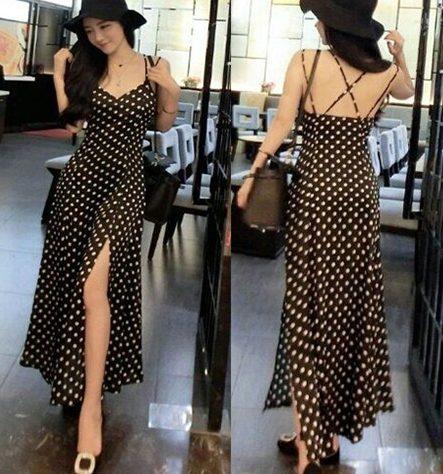 váy maxi xẻ tà chấm bi dịu dàng