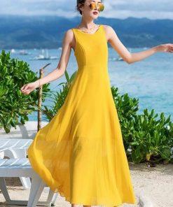 Váy maxi màu vàng đẹp