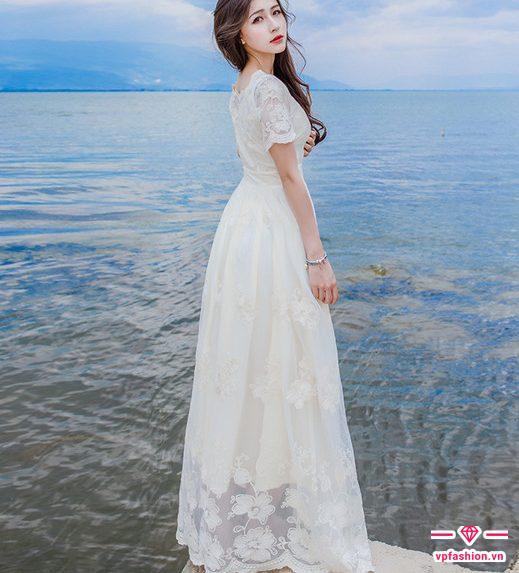 đầm maxi ren đẹp màu trắng dài