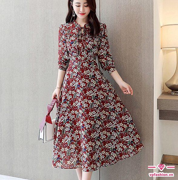 Váy maxi chiết eo hoa đẹp kiêu sa