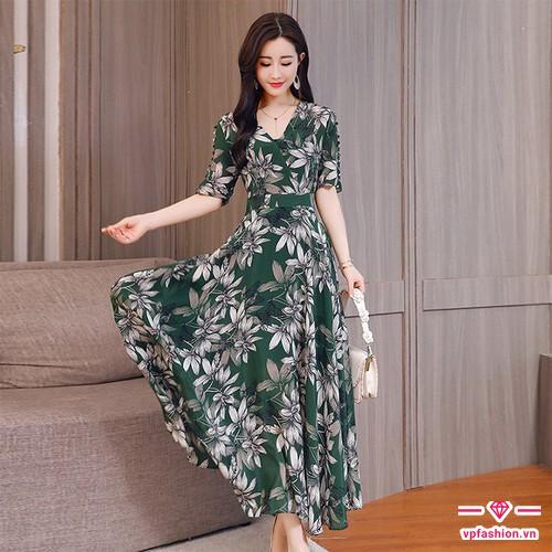 Váy maxi chiết eo họa tiết hoa đẹp kiêu sa