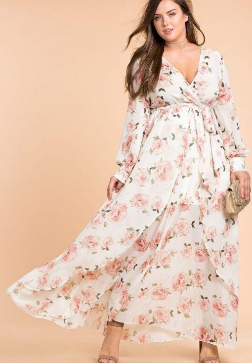 Mẫu váy maxi hoa cho người béo