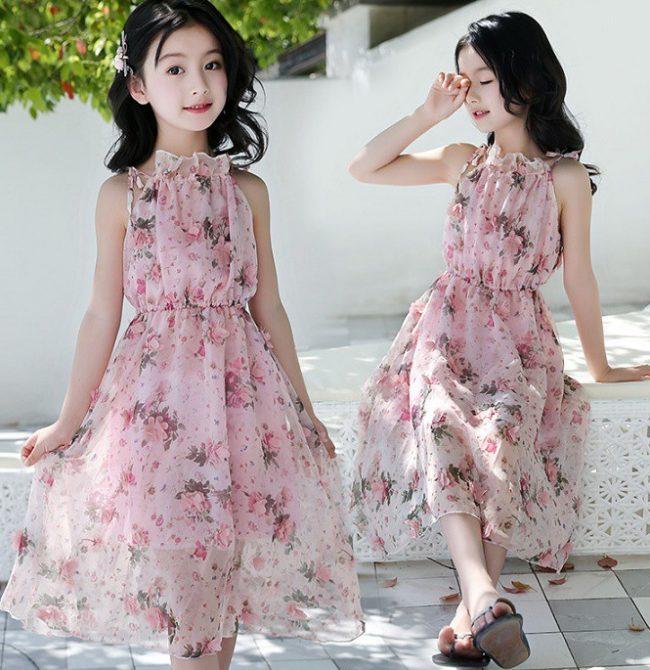 Váy maxi cổ yếm đẹp cho em gái