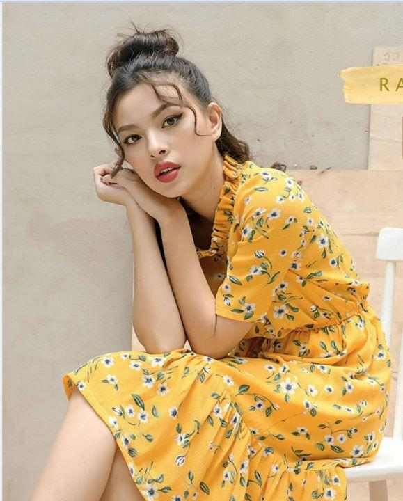 Váy maxi màu vàng hoa nhí đẹp