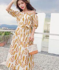 Đầm maxi họa tiết màu vàng đẹp