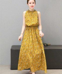 Váy maxi vàng hoa nhí đẹp