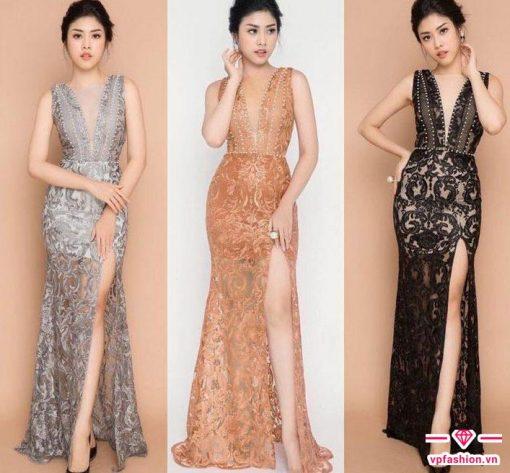 Mẫu váy maxi dự tiệc ren cuốn hút