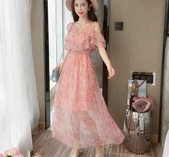 Váy maxi voan hoa đẹp điệu đà