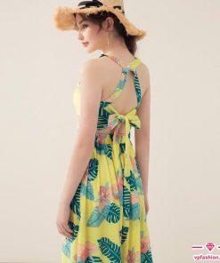 váy maxi cổ yếm hoa cột nơ lưng